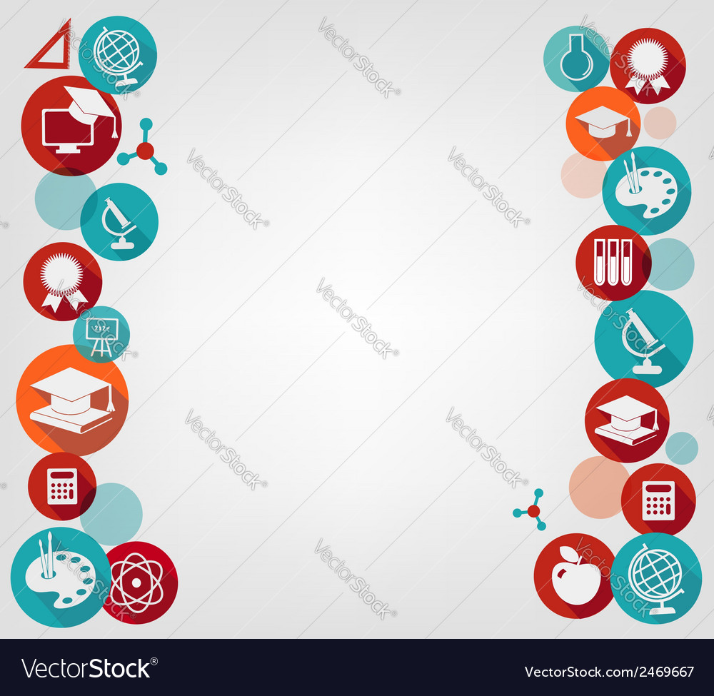 Education background with colorful icons Vector Image