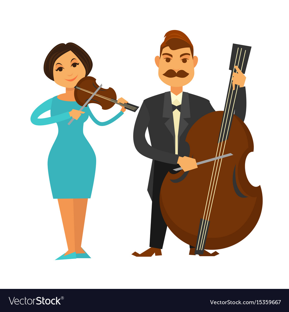 Orchestra members with violin and violoncello