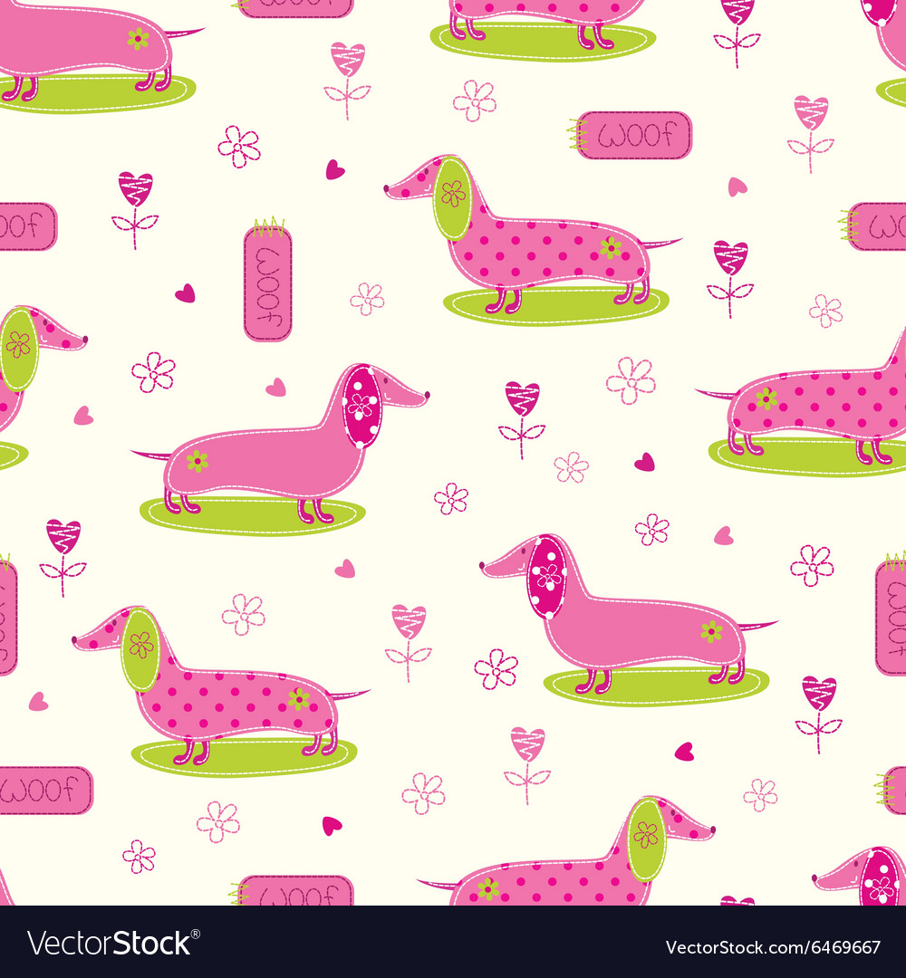 Seamless pattern with cute dog and floral elements