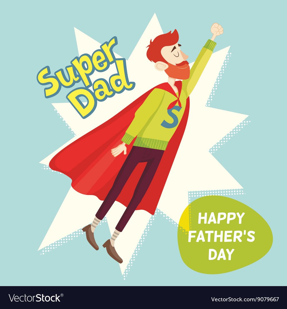 Super dad fathers day greeting card royalty free vector super dad fathers day greeting card vector image m4hsunfo