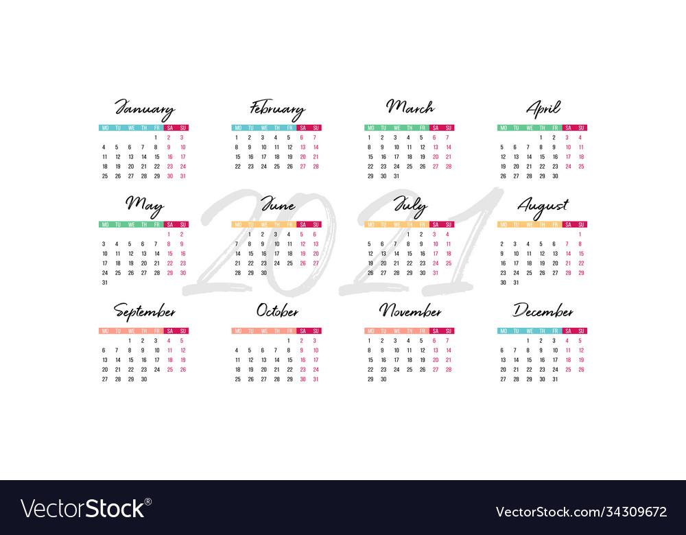 2021 desk calendar 210 x 100 mm