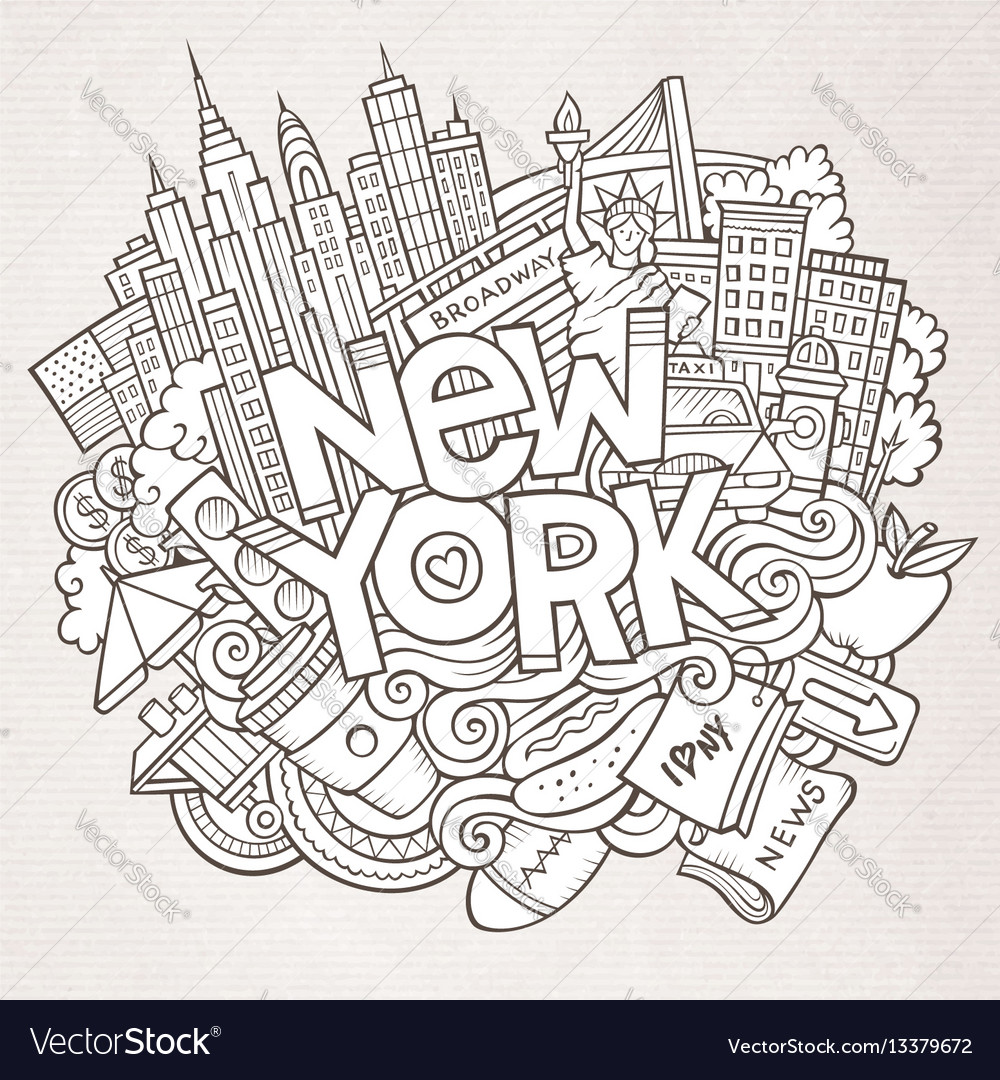 Cartoon cute doodles hand drawn new york