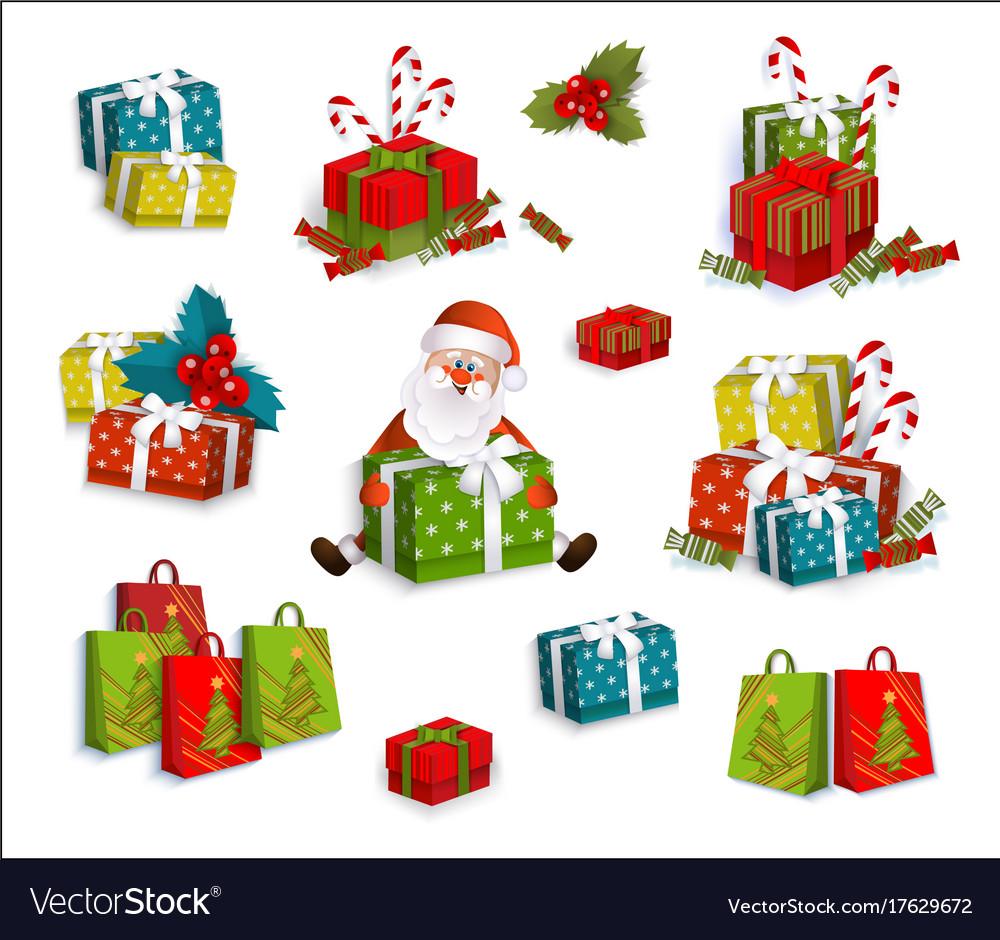 Christmas gifts present boxes and santa claus vector image