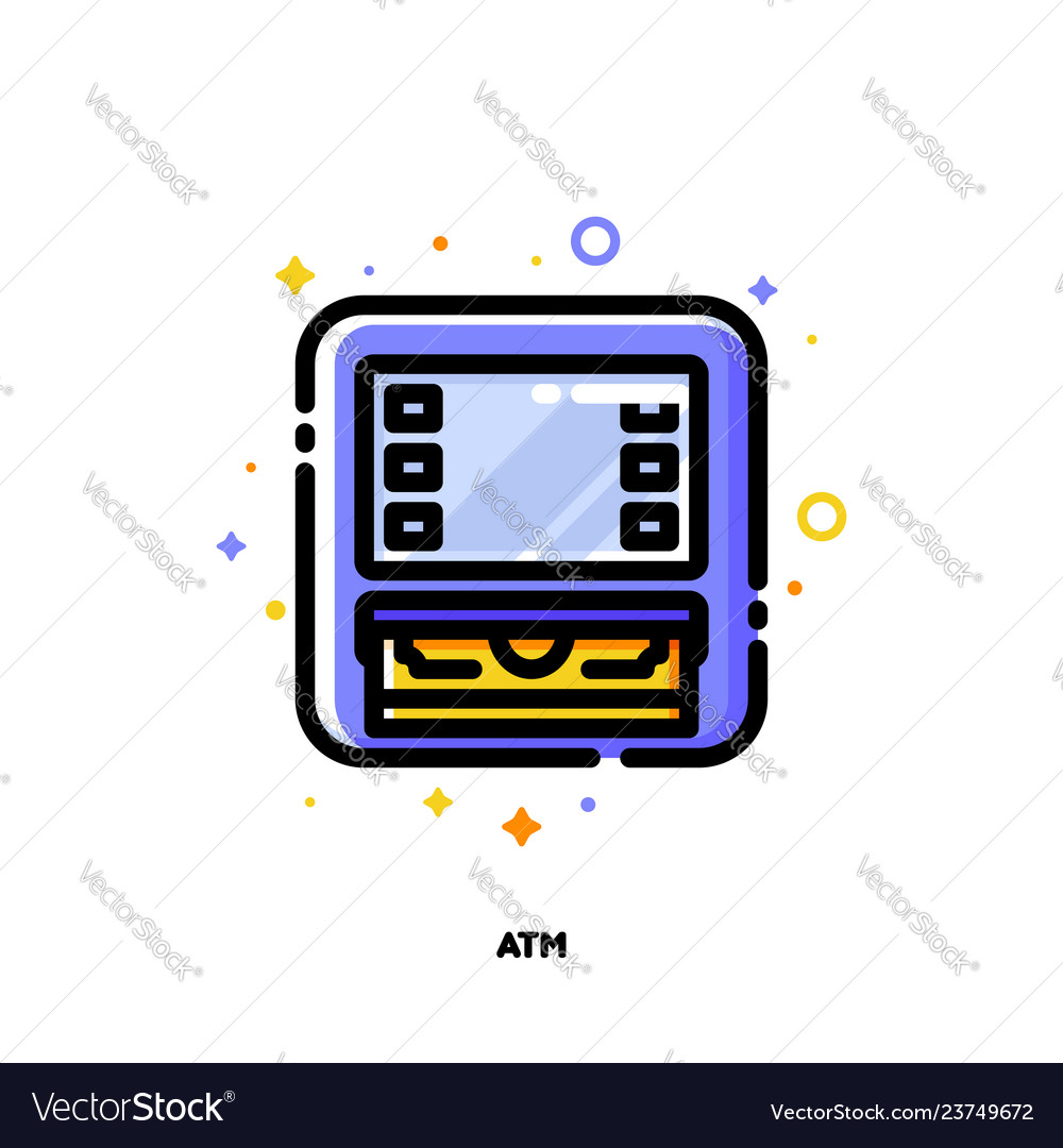 Icon of atm machine for banking concept flat