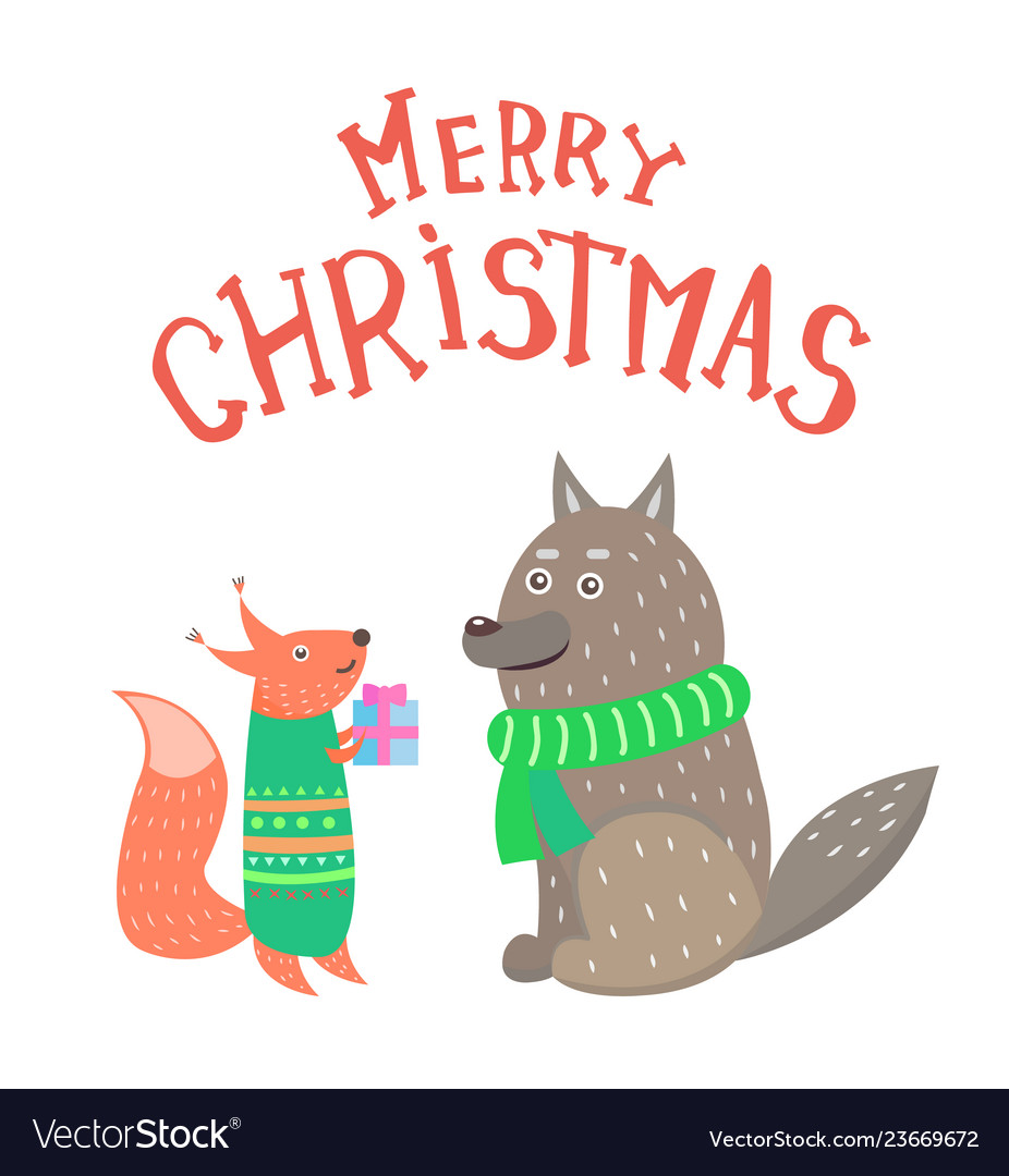 Merry christmas squirrel with gift box and wolf