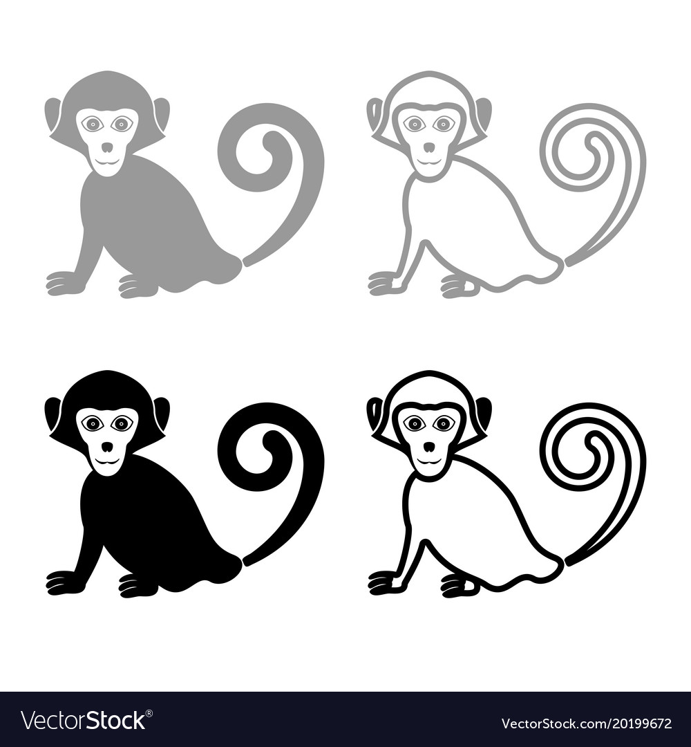 Monkey iconset grey black color