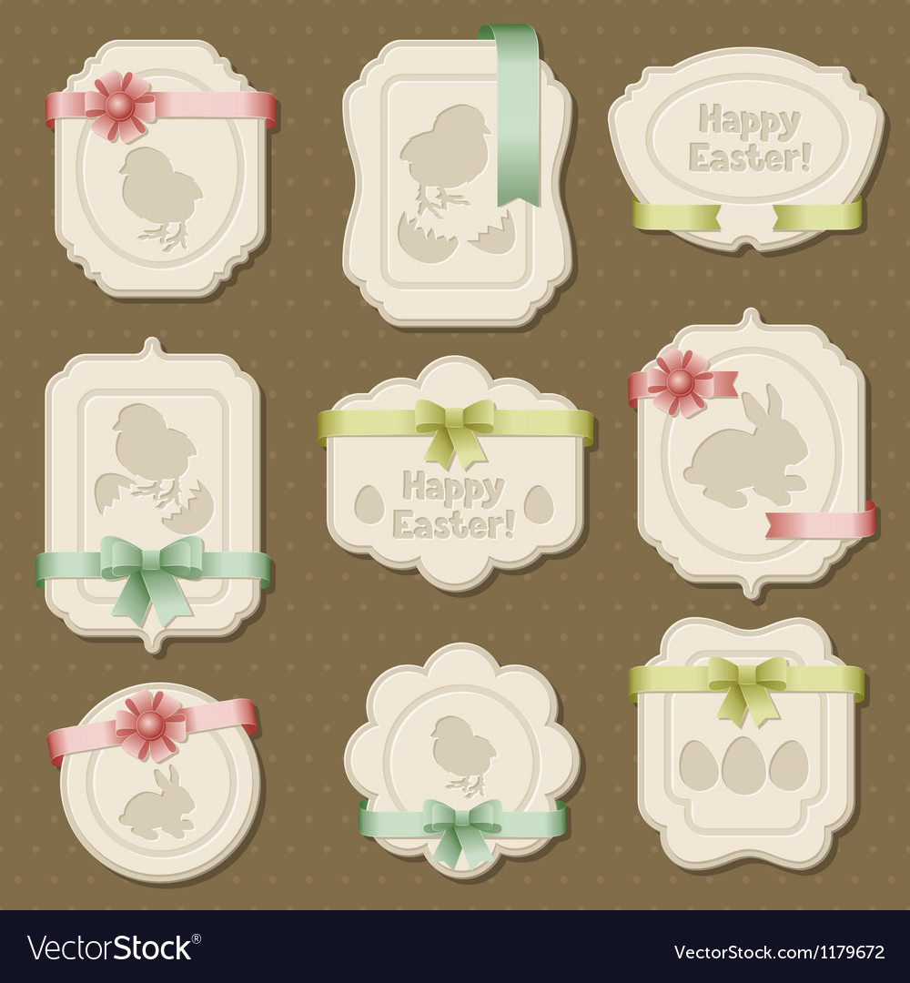 Set of Easter labels tags with bows and ribbons