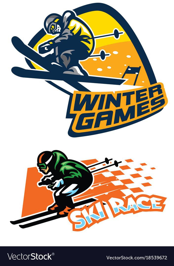 Set of ski sport badge