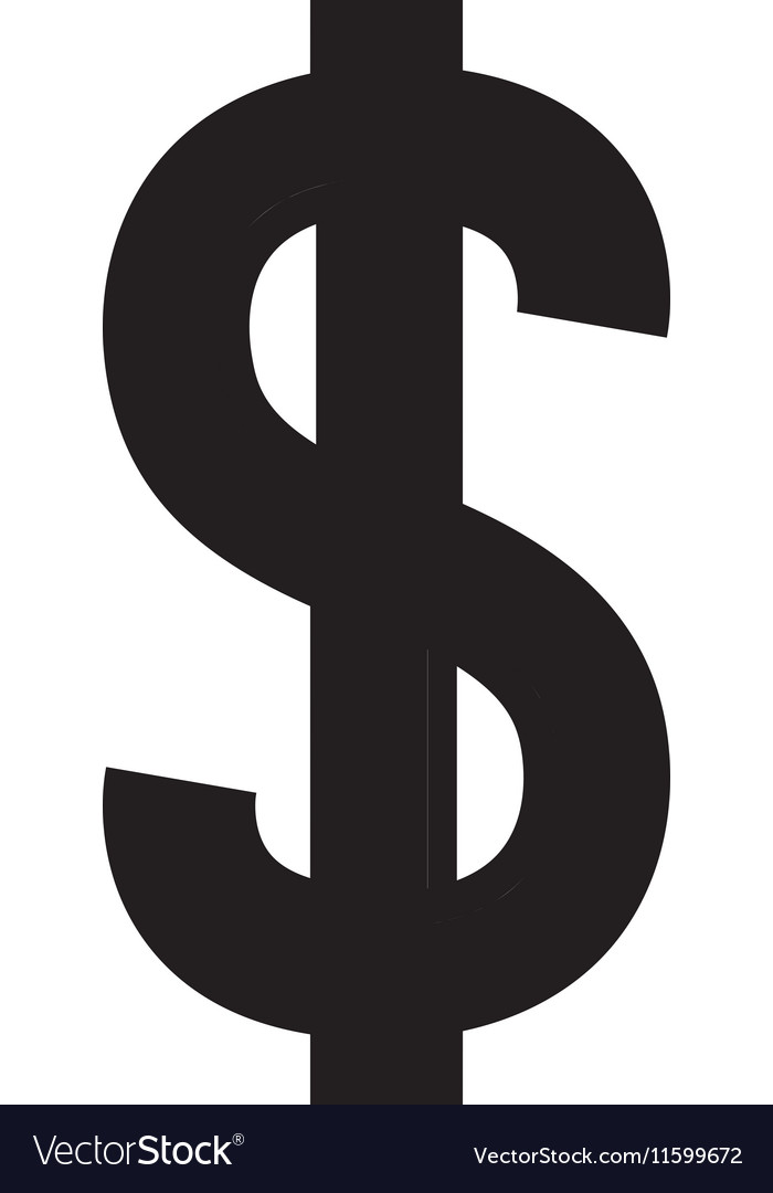 Silhouette with currency symbol of dollar in black