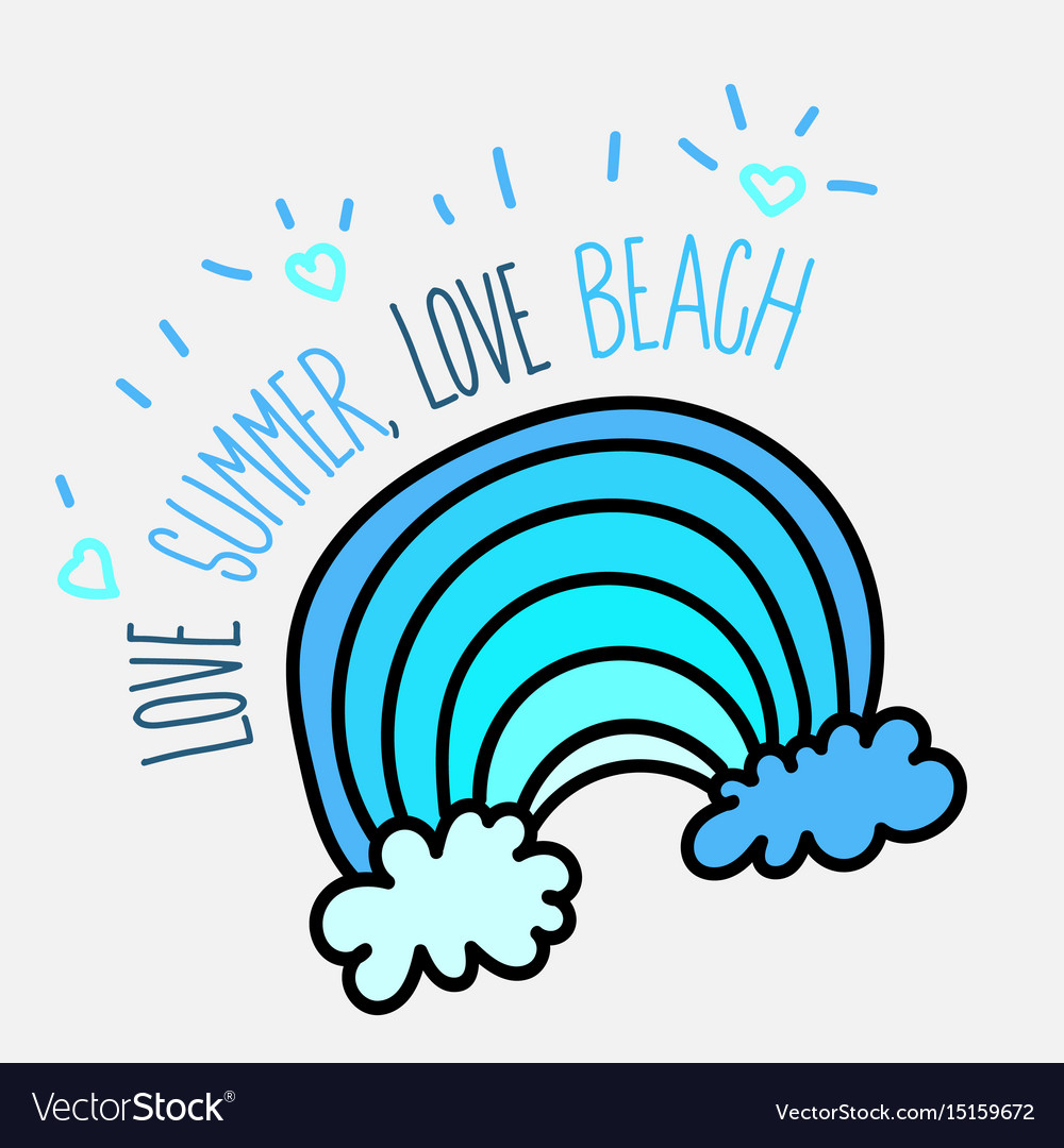 Summer beach poster with blue wave