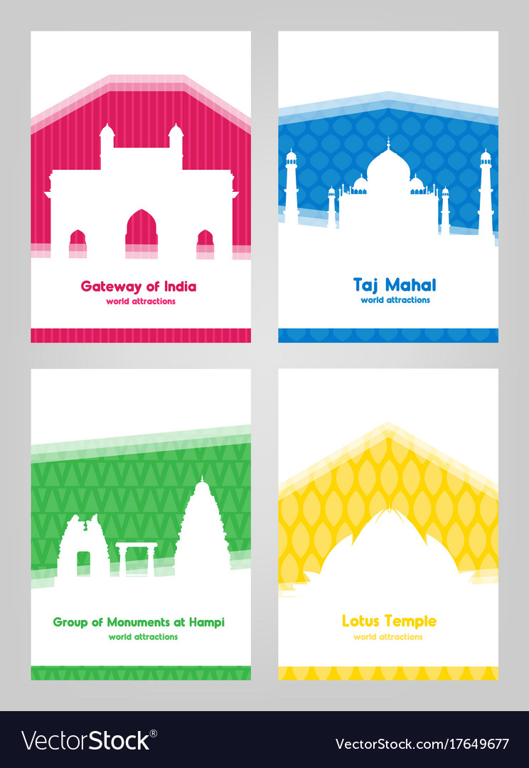 Collection of colorful posters with white