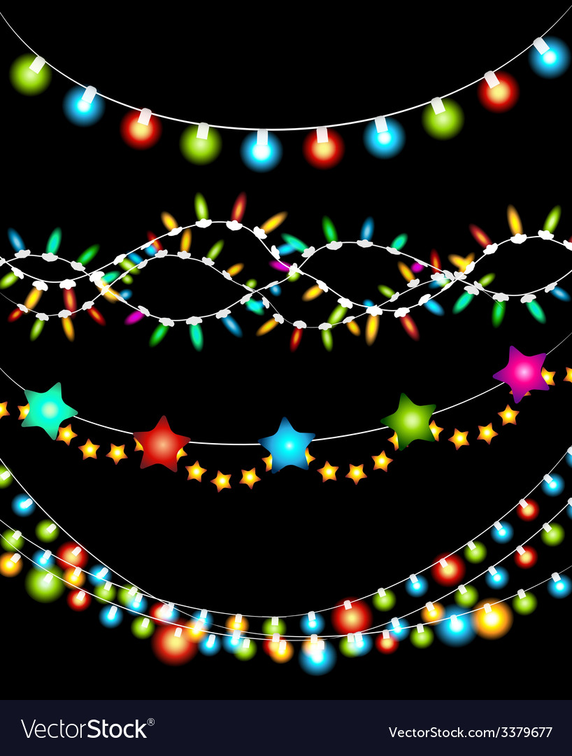 Colorful Christmas Lights Background.Colorful Christmas Lights Garlands