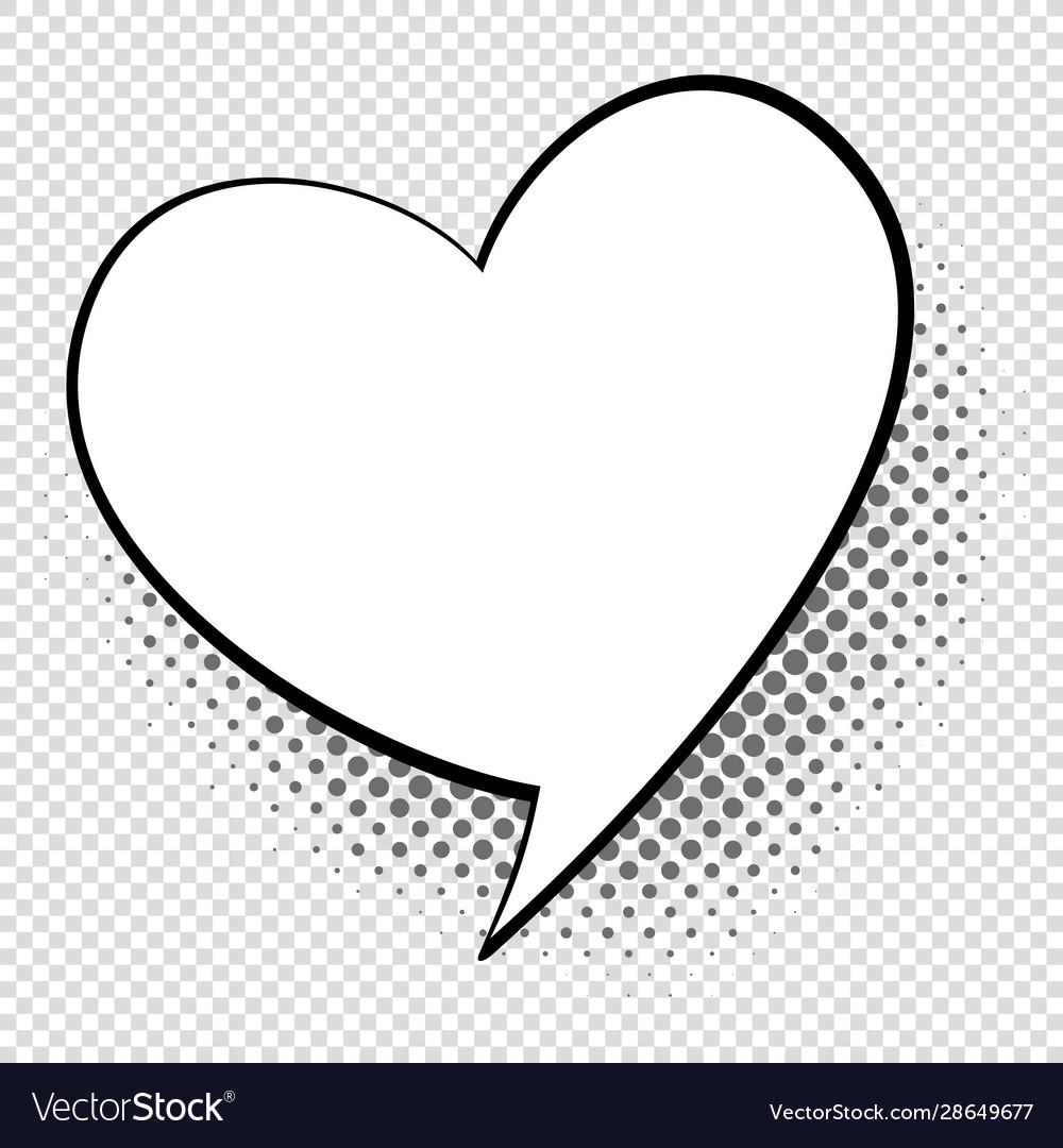 Comic speech heart cartoon talking and thought