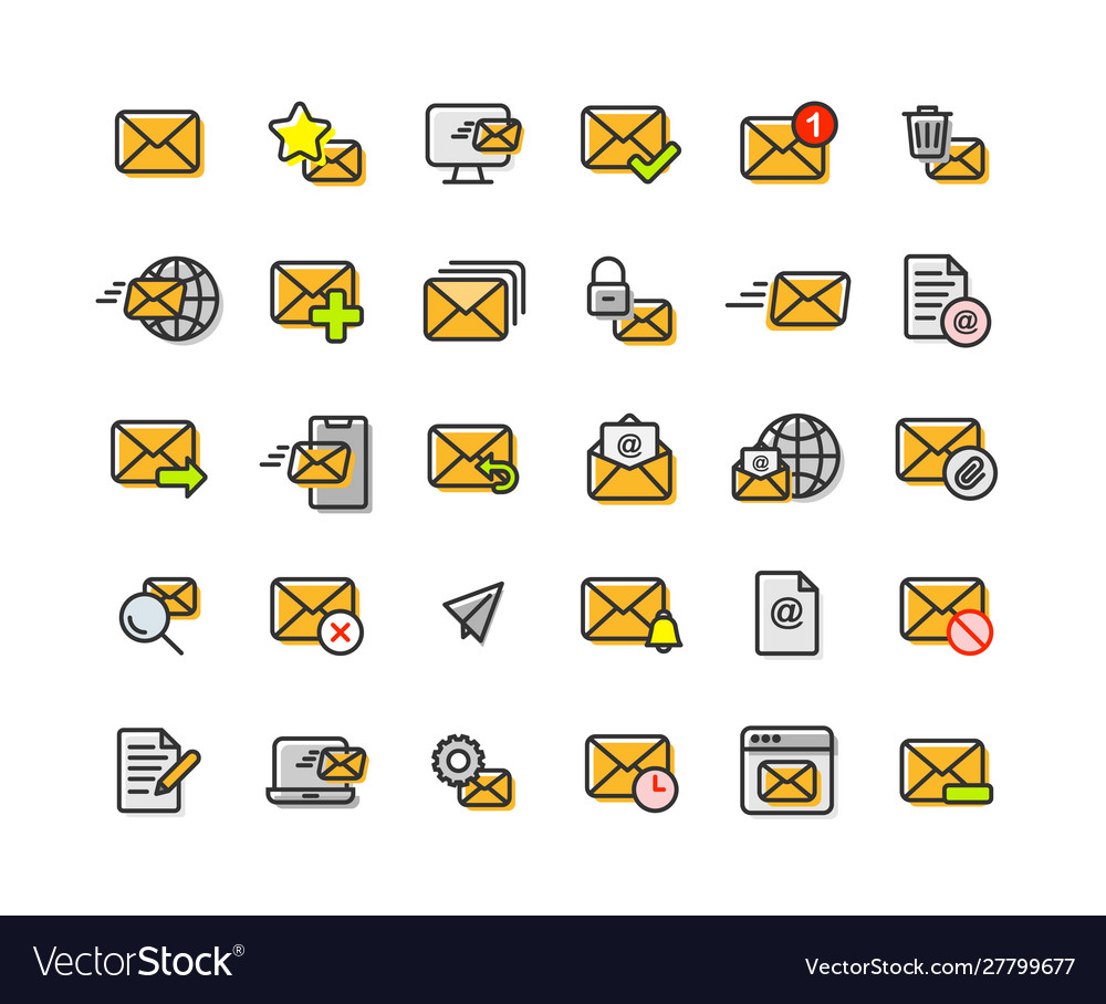 Email and mail filled outline icon set