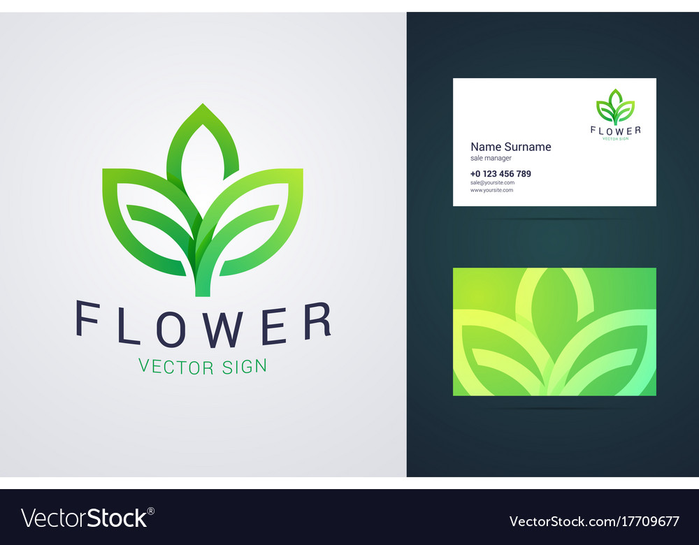 Flower logo template and business card template