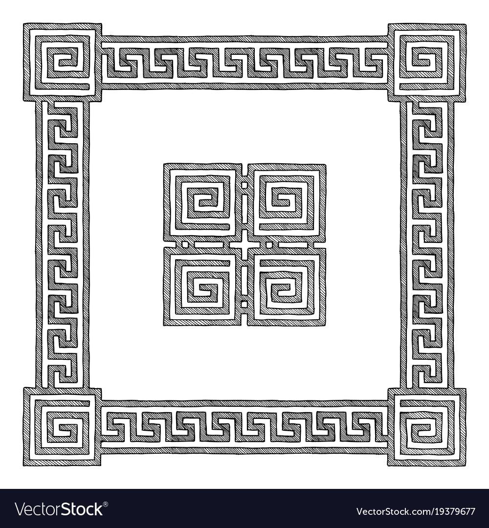 Greek frame with meander vector image