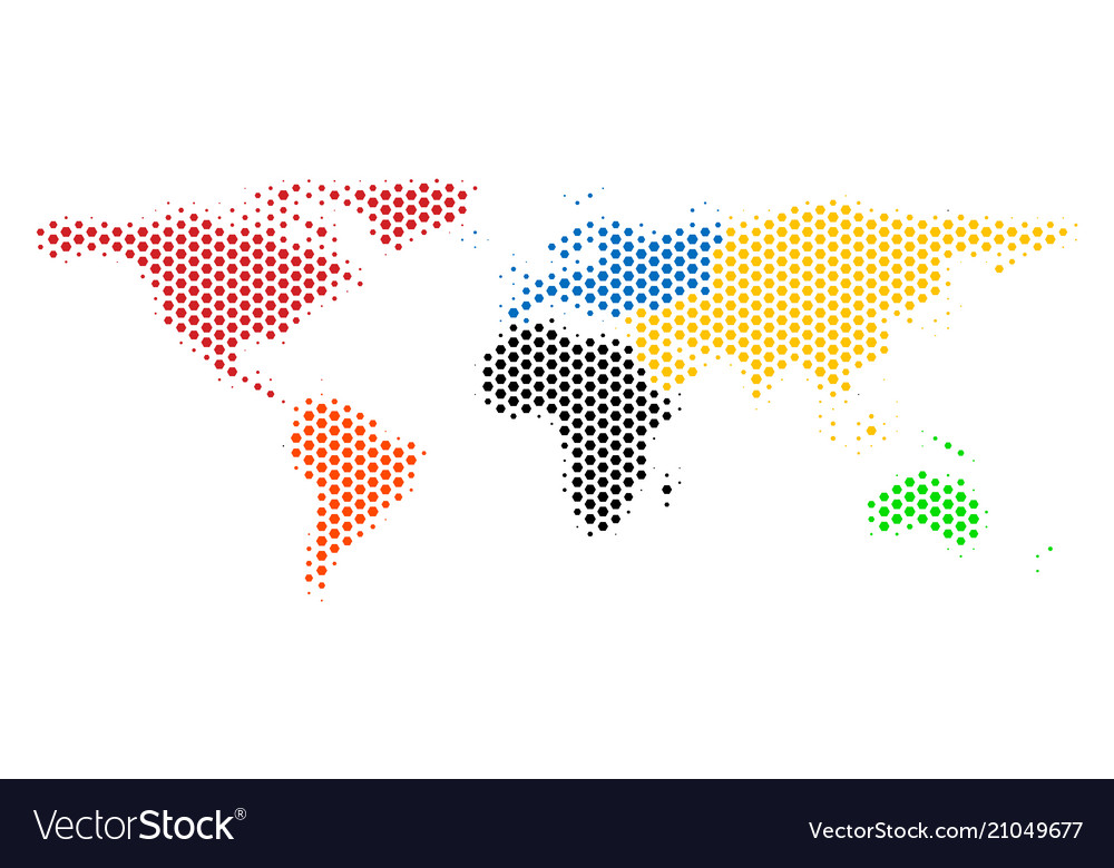 Hexagon world map royalty free vector image vectorstock hexagon world map vector image gumiabroncs Gallery