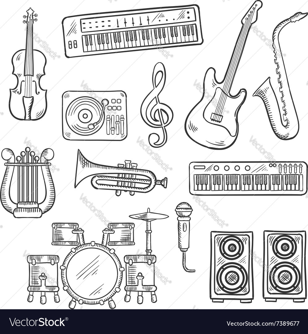 Musical instruments and equipments sketches
