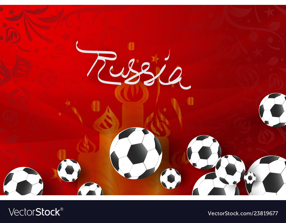 Paper art of world russian red soccer 2018 with