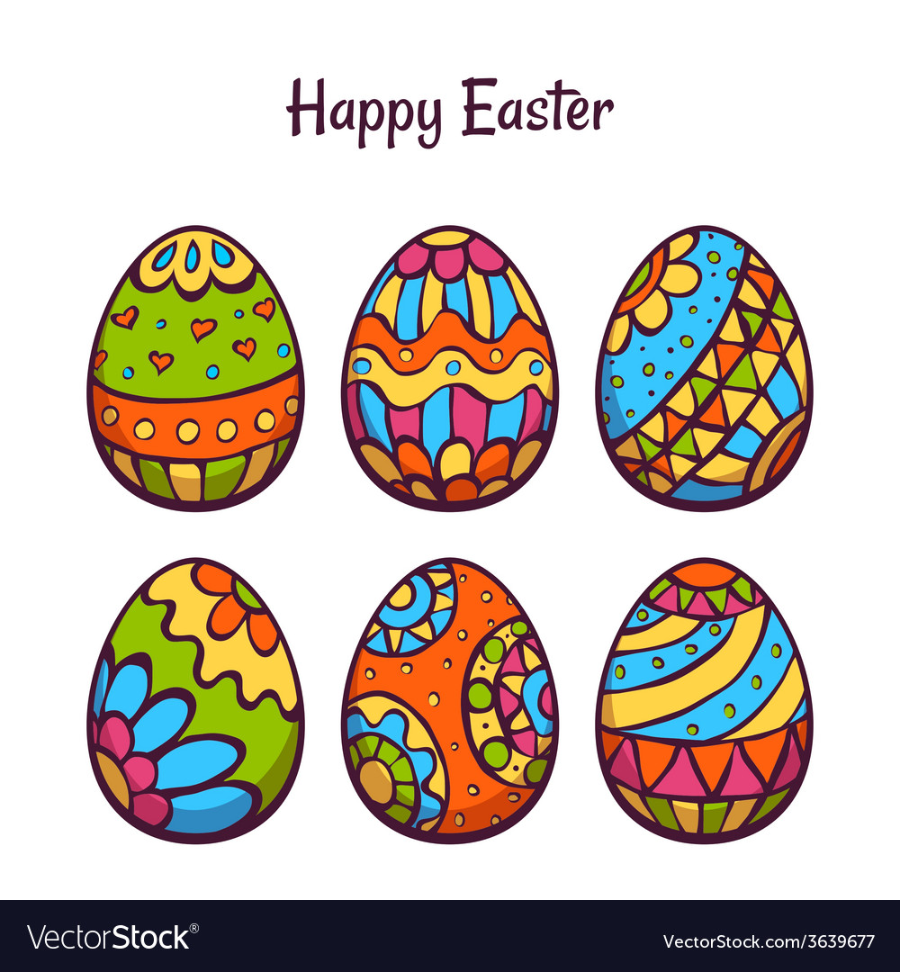 Set cartoon color eggs for easter Royalty Free Vector Image