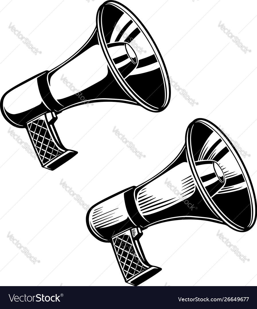 Set megaphone design element for poster logo