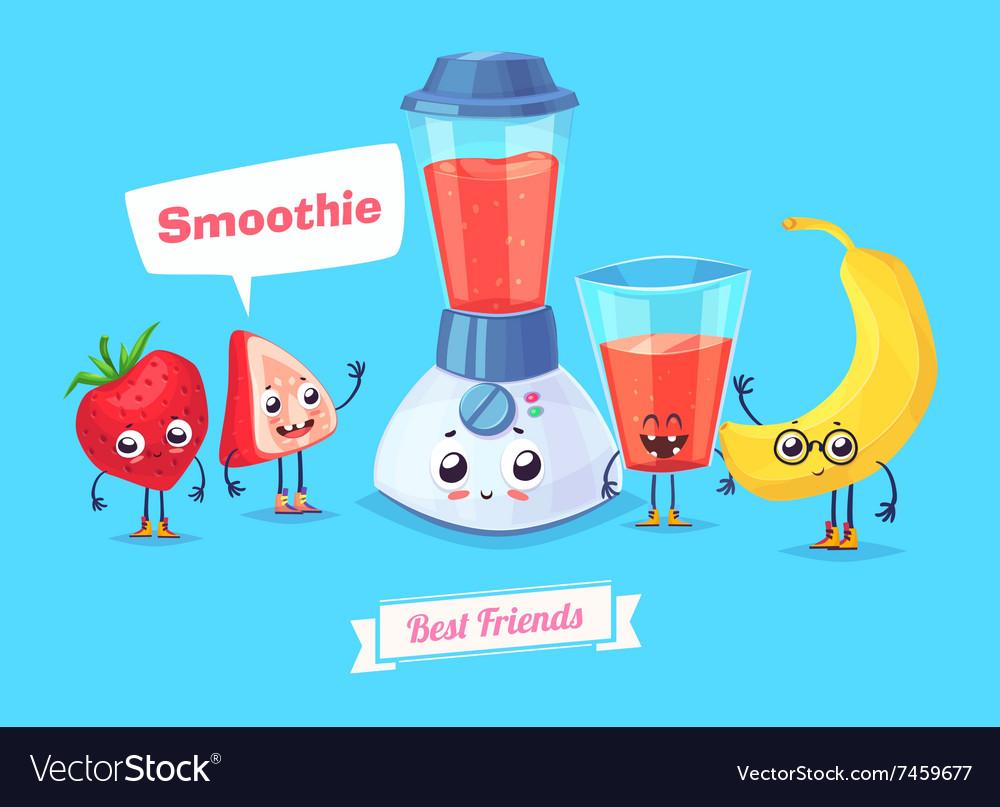 Set of breakfast characters cute cartoons
