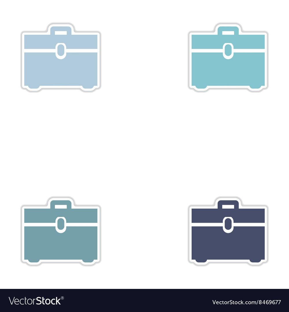 Set of paper stickers on white background business