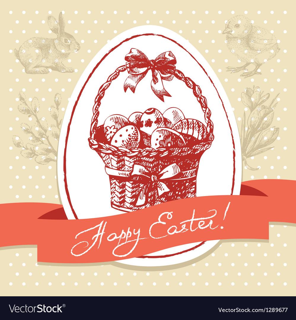 Vintage Easter background hand drawn