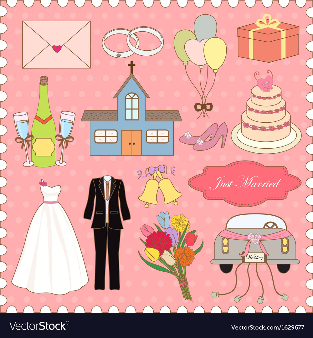 Wedding Icons Collection vector image