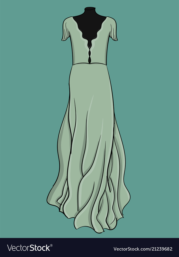A long evening dress is light blue with light
