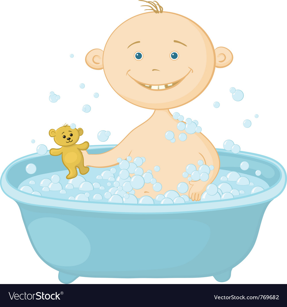 Baby wash in the bath Royalty Free Vector Image