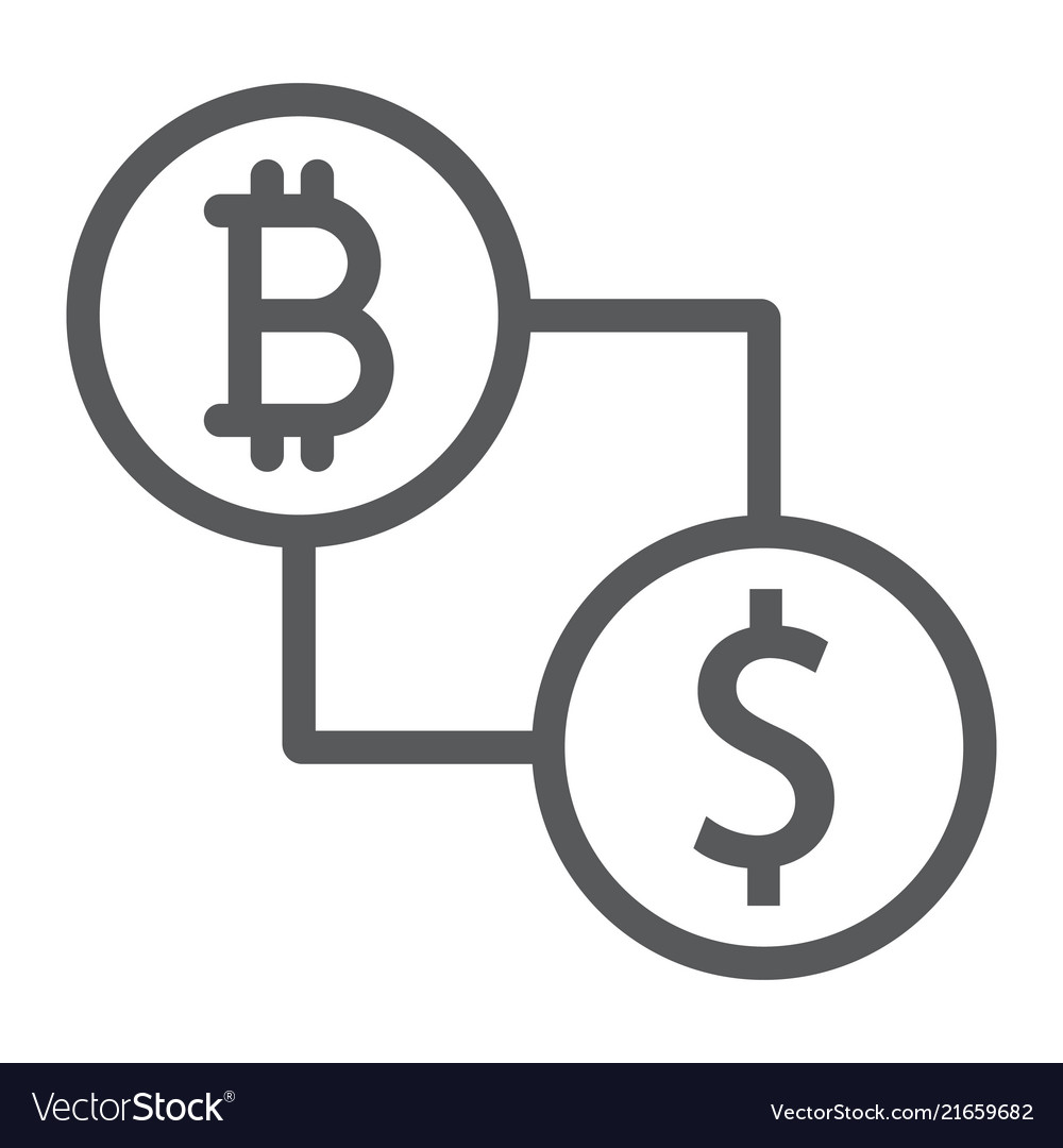 Bitcoin vs dollar line icon finance and money