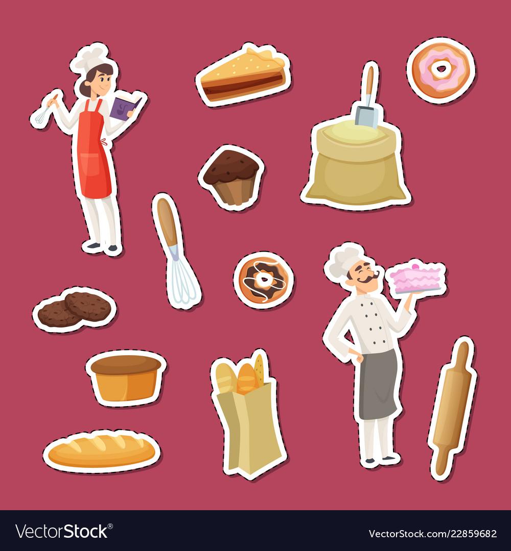 Cartoon bakery stickers of set