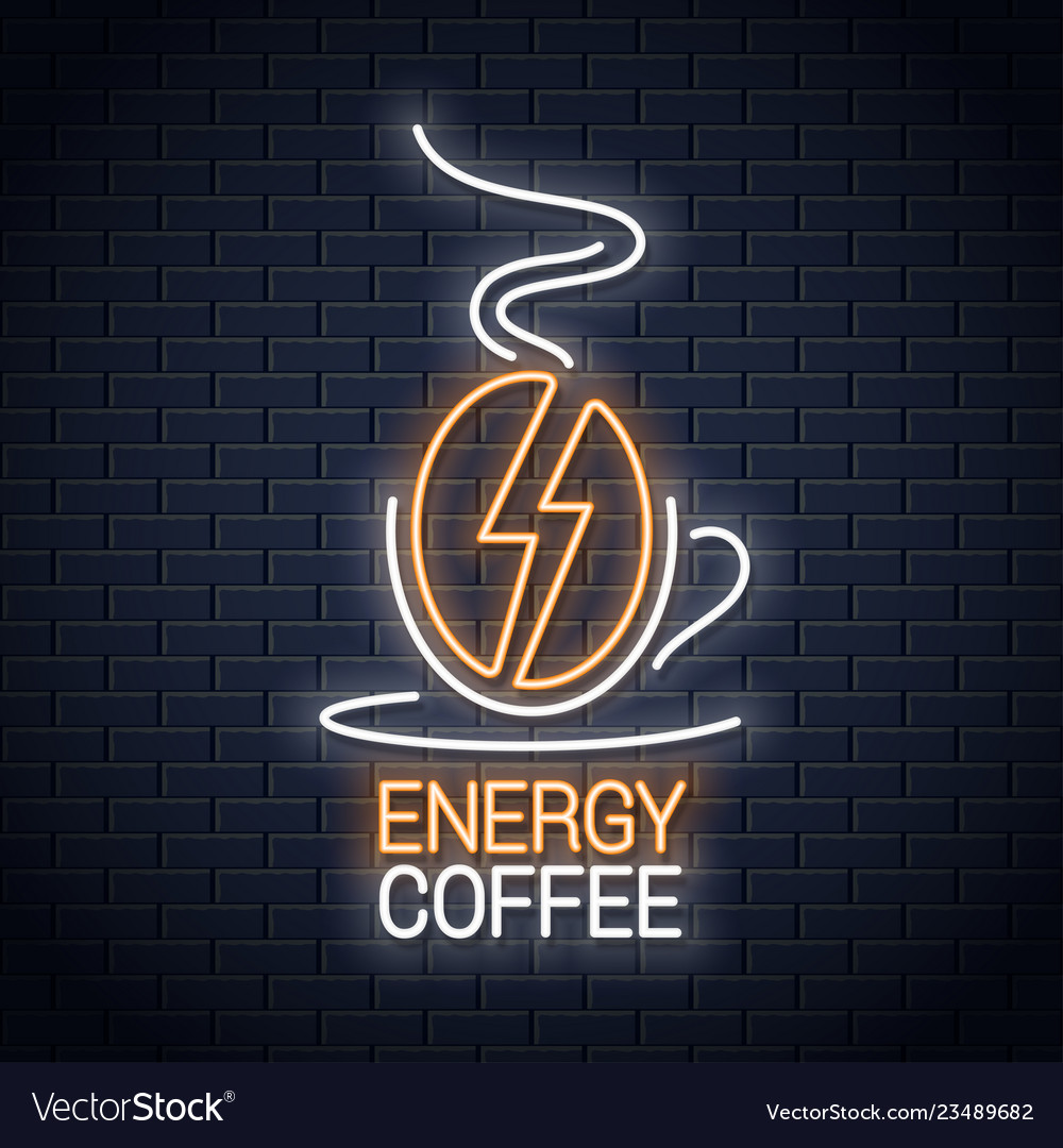 Coffee bean neon sign coffee energy neon concept