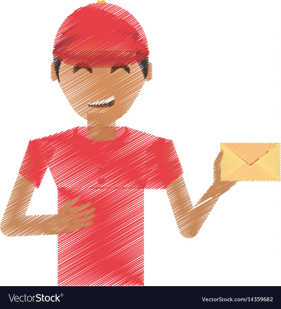 Drawing delivery man package service