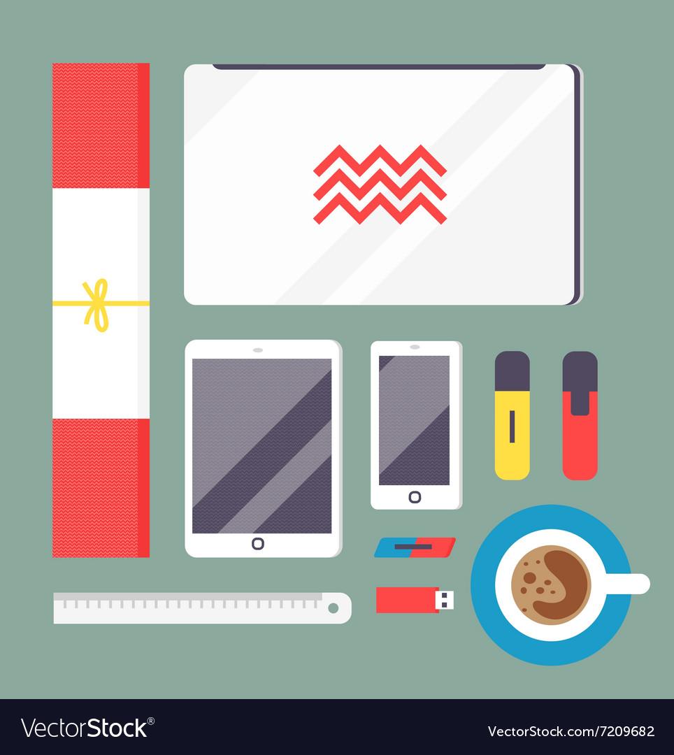 Flat style mockup design templateign vector image