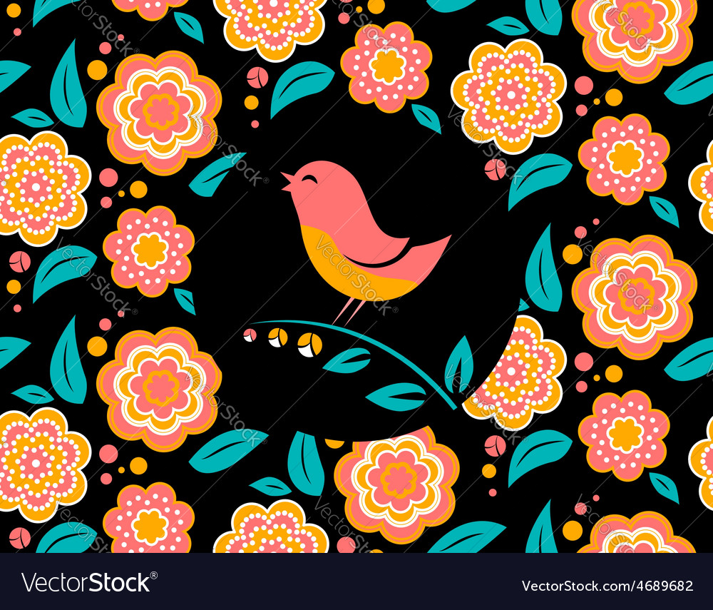 Flower invitation card with bird singing and