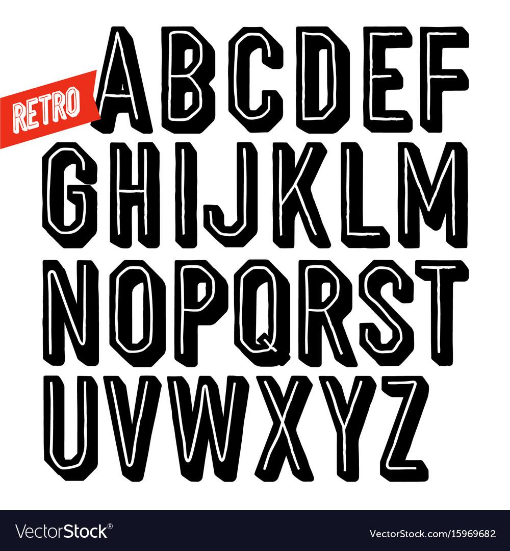 Handmade retro font black dot inline condensed