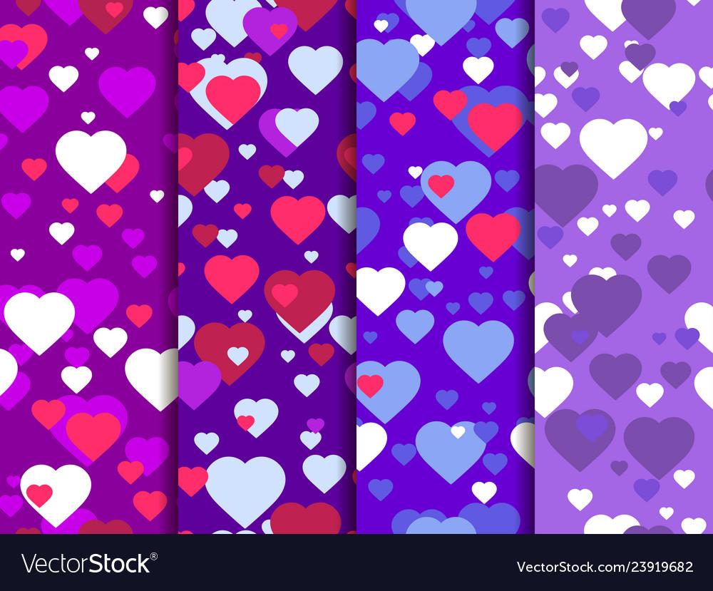 Hearts set of seamless pattern festive background