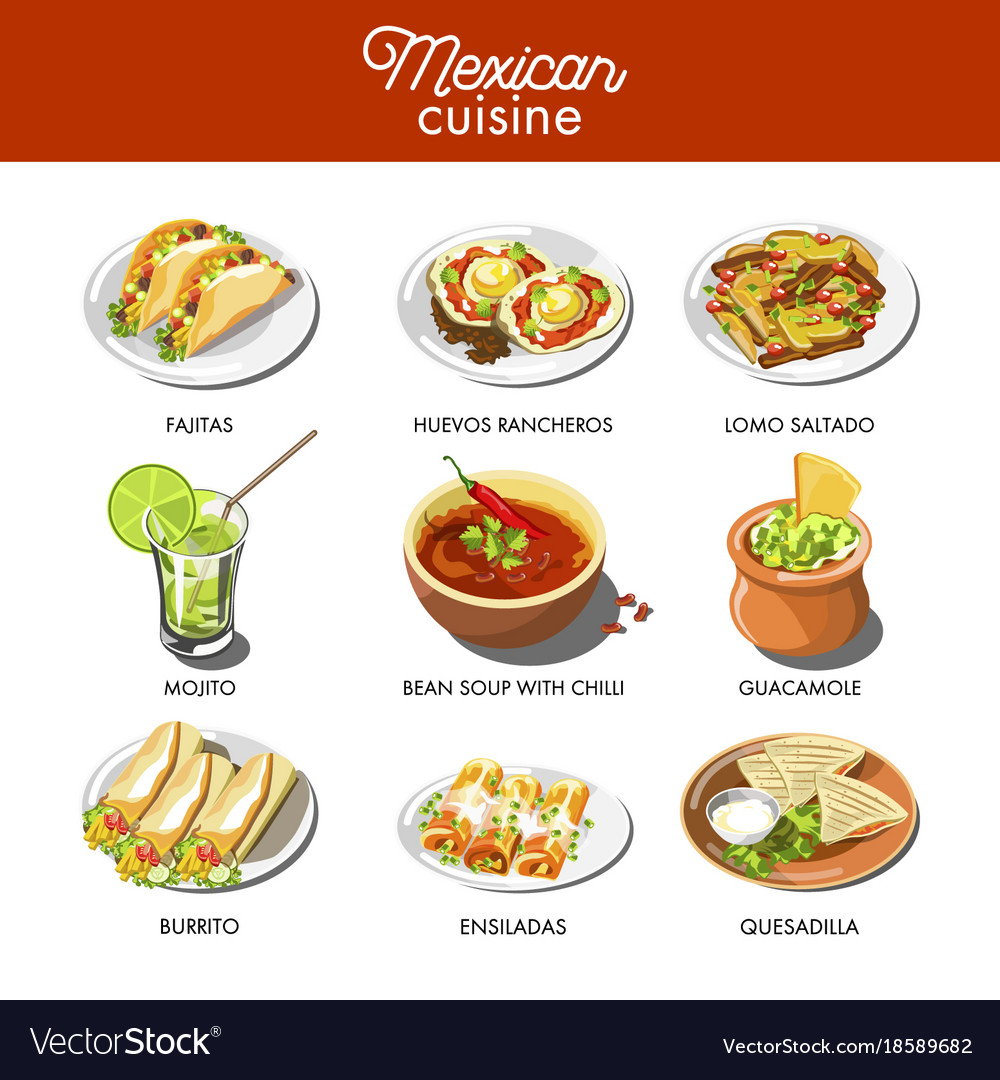 Mexican Food Cuisine Traditional Dishes Of Meal Vector Image