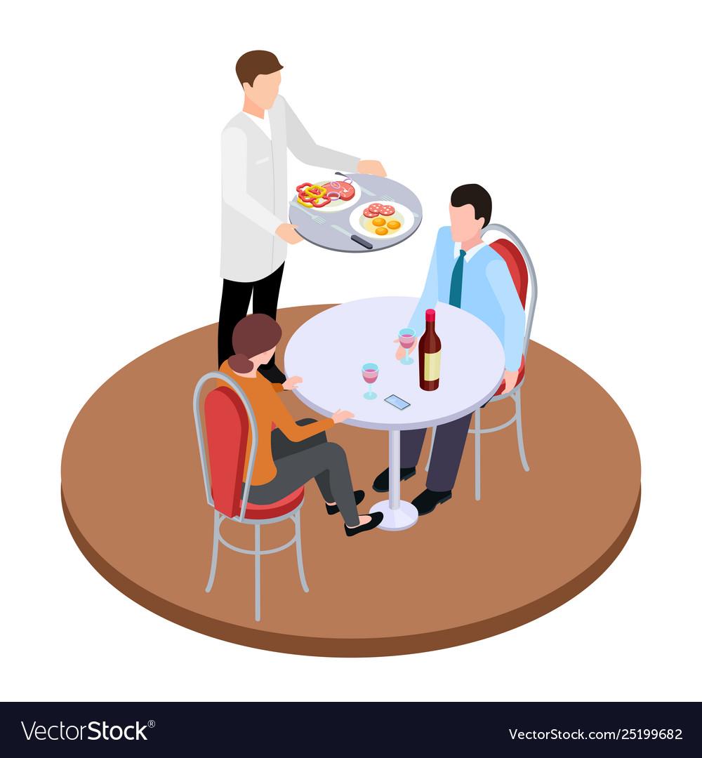 Romantic dating in restaurant isometric