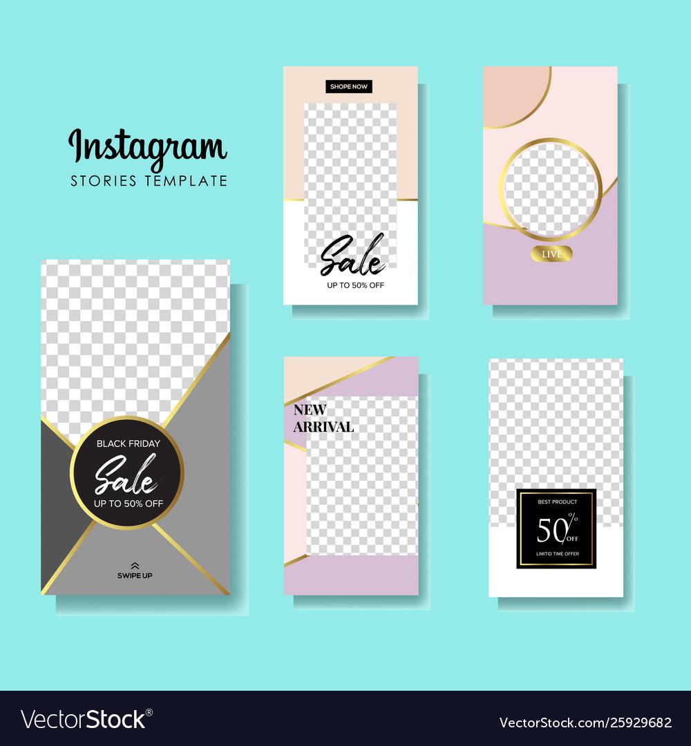 Set instagram stories sale banner background