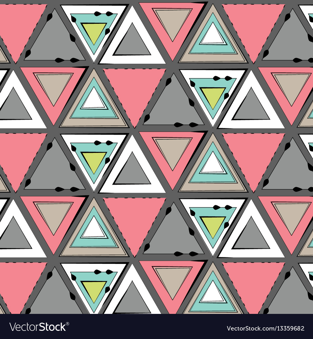Tribal pink green grey pattern simple