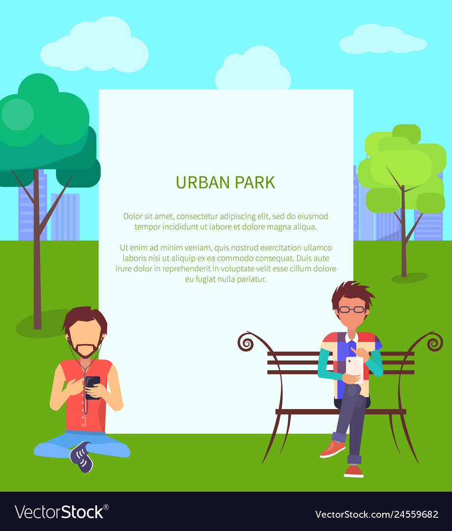 Urban park web banner with people in wi-fi zone