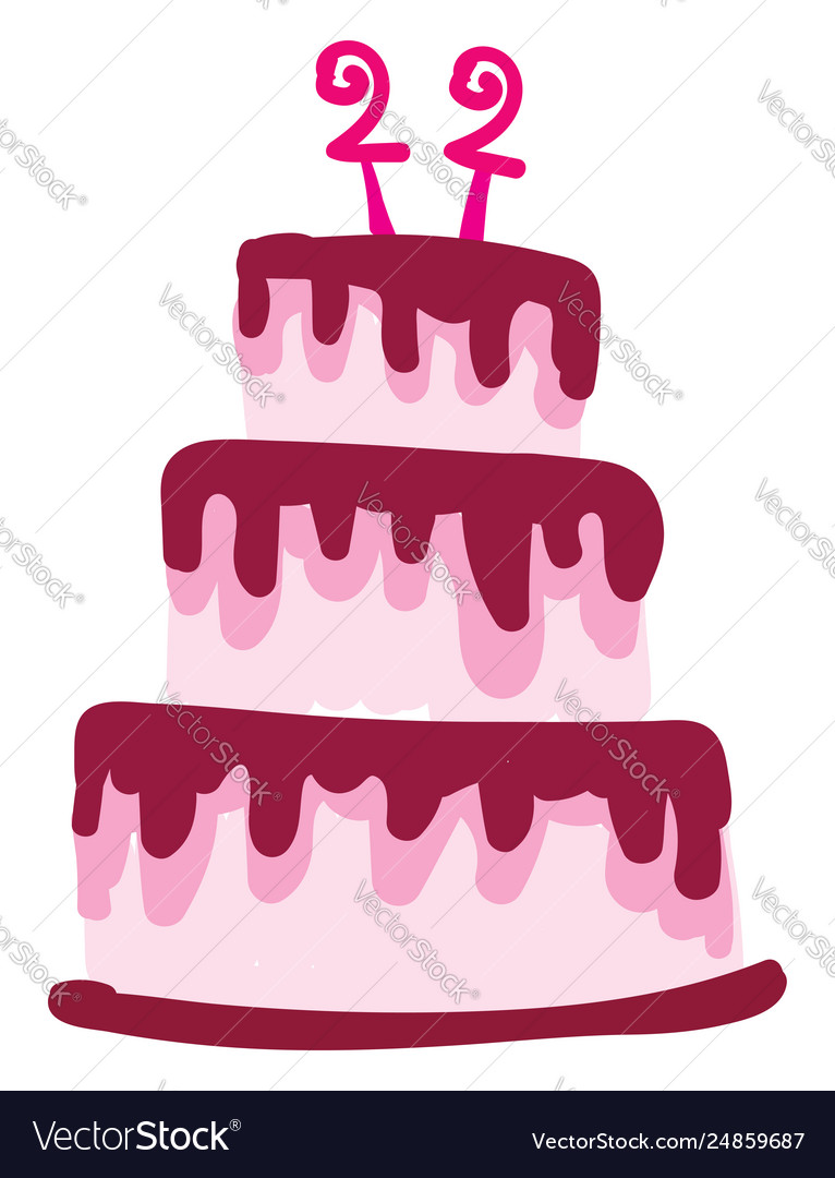 Miraculous A Pink Three Layered Birthday Cake With Age 22 Vector Image Birthday Cards Printable Nowaargucafe Filternl