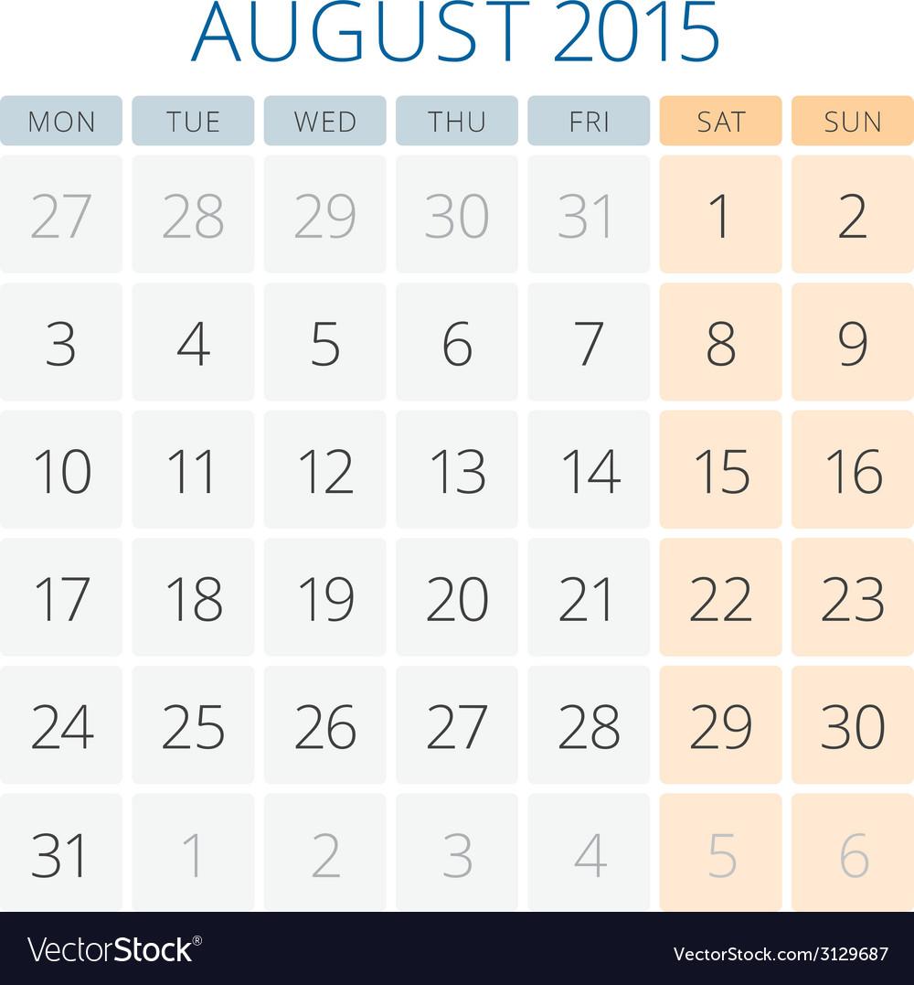 Calendar 2015 August design template