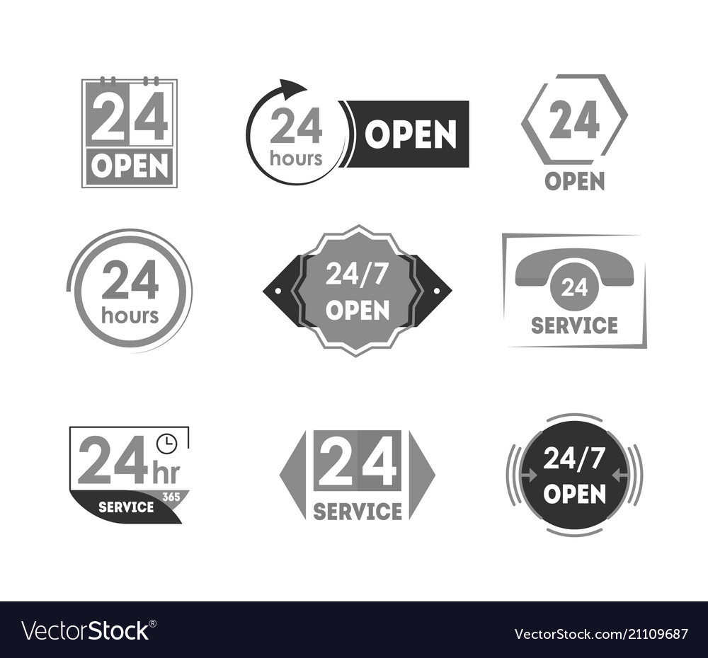 Cartoon 24 hours open service tag icon set