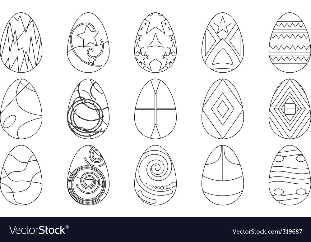 Easter eggs contours vector image