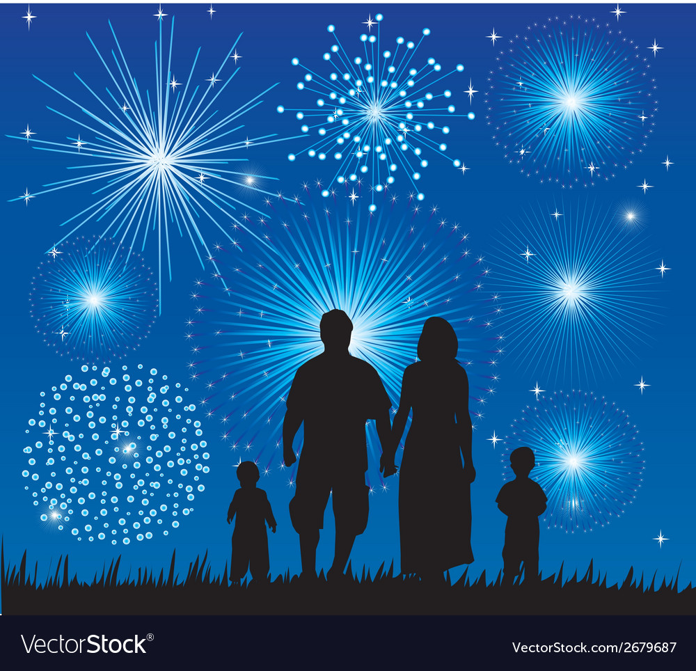 family fireworks royalty free vector image - vectorstock