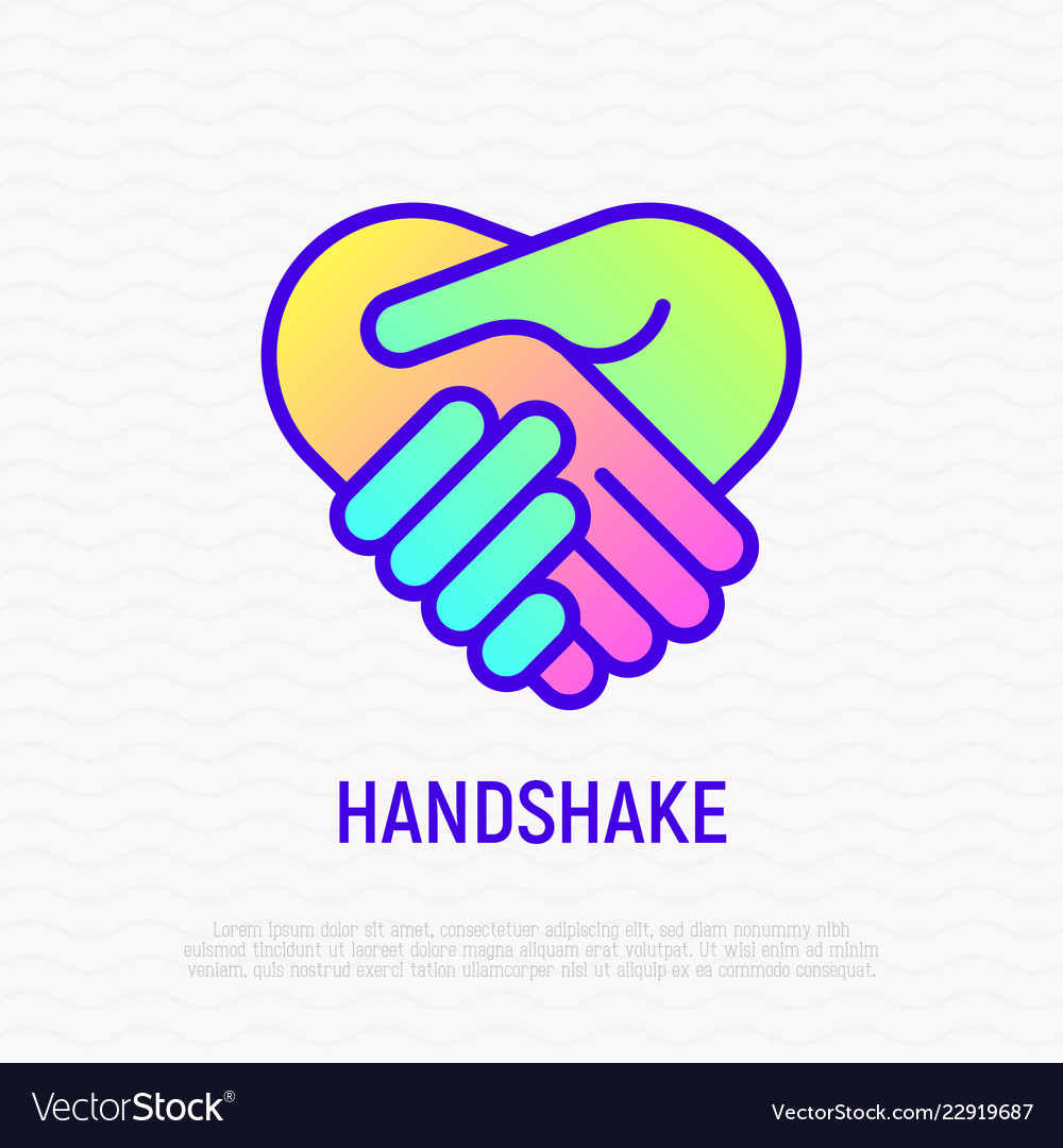 Handshake thin line icon with gradient